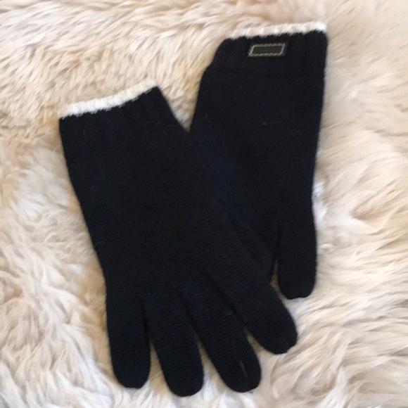 Black / Cream Coach Wool / Rayon / Angora Gloves.